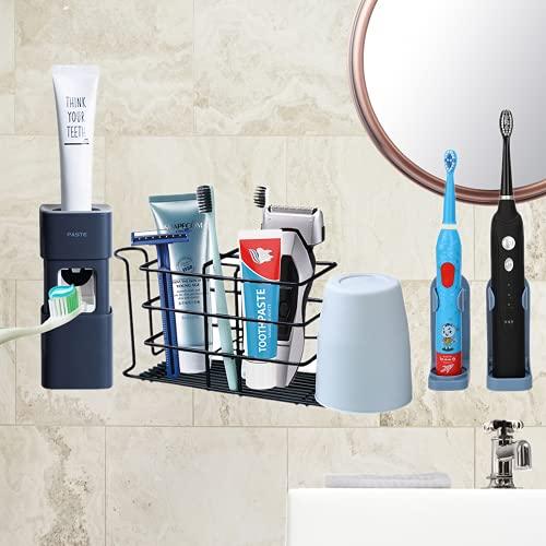 Porta spazzolino da denti Porta spazzolino da parete in acciaio inossidabile Porta accessori da bagno Organizer, fornito con 2 porta spazzolino elettrico e distributore automatico di dentifricio