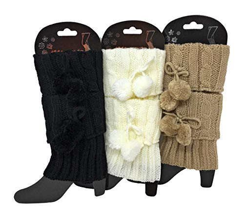 Urban-Peacock Damen Stricksocken/Stiefelmanschetten/Beinstulpen – 3 Paar Packungen – verschiedene Farben erhältlich -  mehrfarbig -  Einheitsgröße
