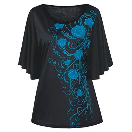 MRULIC Damen Pure Casual T-Shirt Top Tiefem V-Ausschnitt Bluse Plus Größe(C-Grün,EU-44/CN-XL)