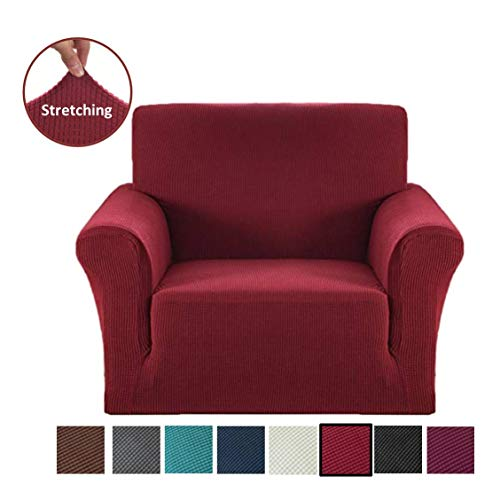 Argstar Jacquard Armchair Sofa Slipcover, Wine Red Stretch Arm Chair Slip Cover, Spandex Furniture Protector for 1 Cushion Seater Living Room, Machine Washable