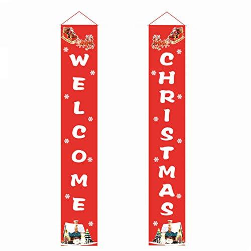STOBOK Letrero de Porche de Navidad Letrero de Bienvenida Decoraciones navideñas de Interior Adornos