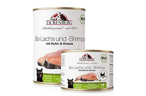 Tackenberg Katzenfutter, Nassfutter, 100% Bio Lachs + Shrimps + Huhn + Kresse, Premium Dosenfutter