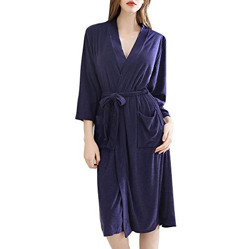 Puimentiua Albornoz Fino Largo para Mujer Batas y Kimonos con Cinturón para Primavera Verano Otoño
