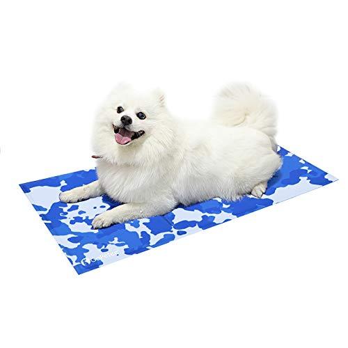 Mbuynow Alfombrilla de Gel para Perros, no tóxica para Mascotas, para Adultos, para Dormir, Accesorios de colchón de Verano (L - 50 x 90 cm, Huella de Hueso)