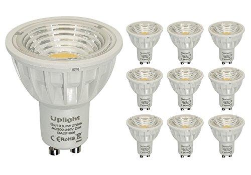Preisvergleich Produktbild Dimmbar GU10 LED Lampen Ersetzt 50W-60W Halogen Warmweiß 2700k Ra90 550LM 90°Abstrahlwinkel 10er Pack.