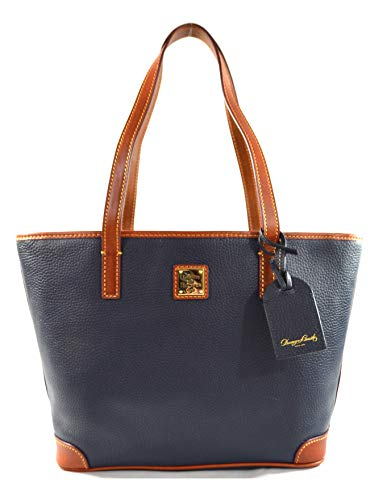 "Made of pebbled leather Top zip closure Inside 1 zip pocket and 3 slip pockets 13""L x 10""H x 4""D, Shoulder strap drop 9"""