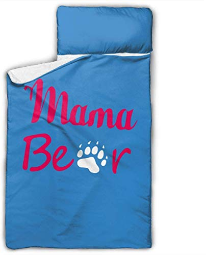 Mama Bear Kids Toddler Nap Mat with Pillow - Includes Pillow & Fleece Blanket for Boys and Girls Napping at Daycare, Preschool, Or Kindergarten
