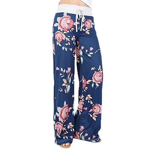 TOYIS Casual Yoga Pants,Womens Floral Yoga Palazzo Drawstring Casual Loose Wide Leg Pants Trousers Leggings (Grey Striped Pattern 0626,L=UK 10)
