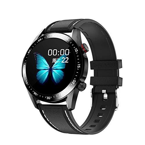 Winnes - Reloj inteligente Bluetooth para mujer y hombre, resistente al agua IP67 con pantalla táctil de 1,28 pulgadas para iOS Android (correa de piel negra)