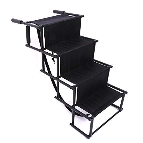 MYXE Escalera de Mascotas rampa portátil Perro Coche escaleras escaleras para Camiones SUVS lecho Alto Interior Uso Exterior Perros Ligeros Escalera (Color : Black)