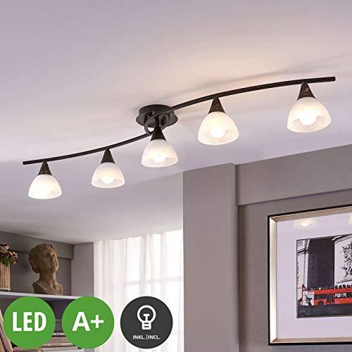 Lindby LED Deckenleuchte \'Della\' (Landhaus, Vintage, Rustikal) in Schwarz aus Glas u.a. für Wohnzimmer & Esszimmer (5 flammig, E14, A+, inkl. Leuchtmittel) - Lampe, LED-Deckenlampe, Deckenlampe