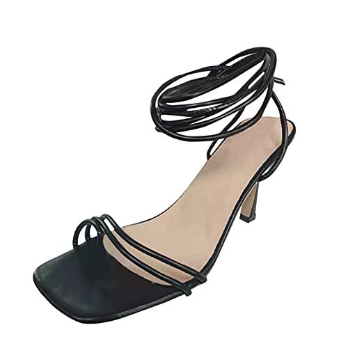 Sandalias de Tiras Moda 2021 tacónes Mujer Sexy de Aguja Sandalias de...