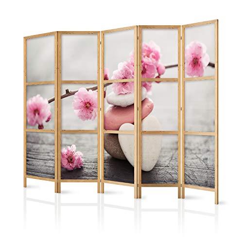 murando - Paravent XXL Spa Zen Orient Blumen 225x171 cm 5-teilig einseitig eleganter Sichtschutz Raumteiler Trennwand Raumtrenner Holz Design Motiv Deko Home Office Japan b-B-0166-z-c