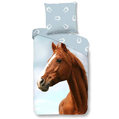 Aminata Kids süße Wende-Bettwäsche-Set Pferd 135 x 200 cm + 80 x 80 cm Mädchen, aus Baumwolle mit Reißverschluss, unsere Kinder-Bettwäsche mit Pferdebettwäsche-Motiv, Pferd-Motiv, Hufeisen