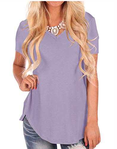 Womens Short Sleeve Solid T-Shirt Casual V-Neck Soft Lightweight Tops Lilac M