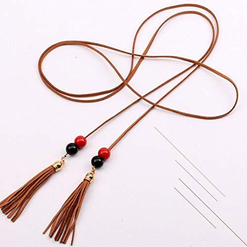 TMSHEN Fashion korte franje taille ketting lange dunne strik touw riem jurk decoratieve riemen voor vrouwen