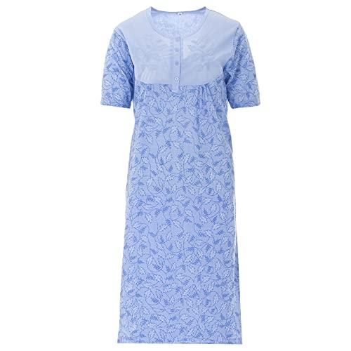 LUCKY Langarm Nachthemd mit Pünktchendessin und Stickerei, Größe:XXL;Farbe:Blau