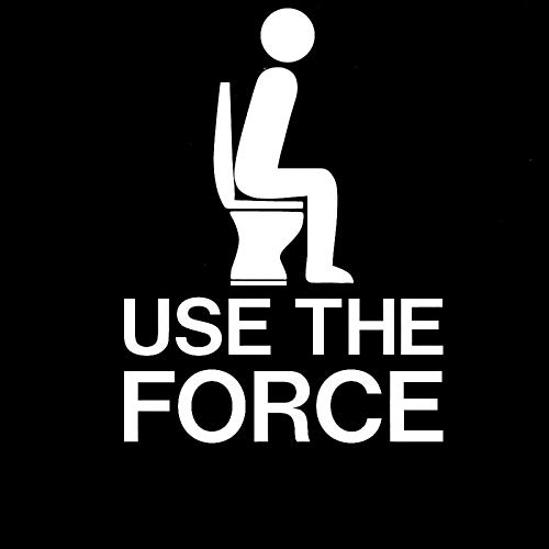 SUIFENG Car Stickers 10.5CMx14CM Use The Force Toilet Funny Poop Jedi Car Stickers and Decals Motorcycle Car Styling Accessories Black Sliver