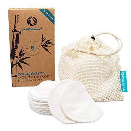 Chinchilla® Waschbare Abschminkpads 10er Pack | Wattepads aus Bambus | inklusive Waschbeutel aus Baumwolle | wiederverwendbar, plastikfrei, nachhaltig | Make-Up Entferner & Gesichtsreinigung
