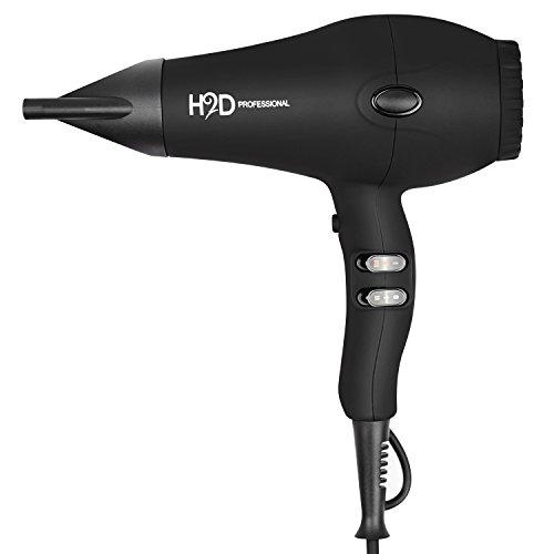 H2D Secador de pelo profesional iónico e infrarrojo, negro
