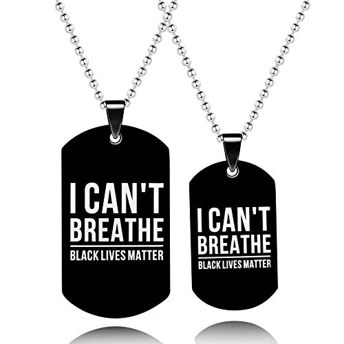I Can't Breathe Black Lives Matter Stainless Steel Dog tag Pendant Necklace for Couples Justice Freedom Peace Spread Awareness Y815