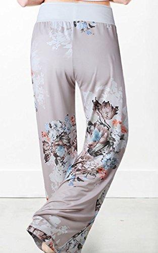 Angashion Damen Blumenmuster Weite Bein Lange Hose, Grau0447, EU M(36) - 2