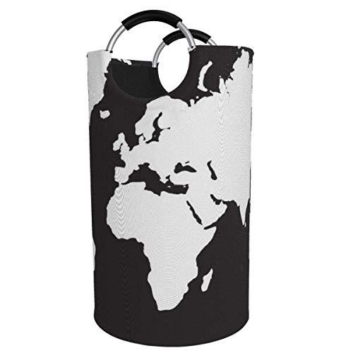 Cesta de lavandería redonda, mapa del mundo en blanco y negro, cesto de lavandería, cubo, bolsa de ropa plegable, contenedores de 82 litros para baño, organizador de juguetes, clasificador de contened