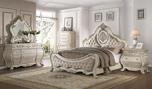 Great Price! Esofastore Luxury Vintage White Finish PU Tufted Queen Size 4pc Bedroom Furniture Set