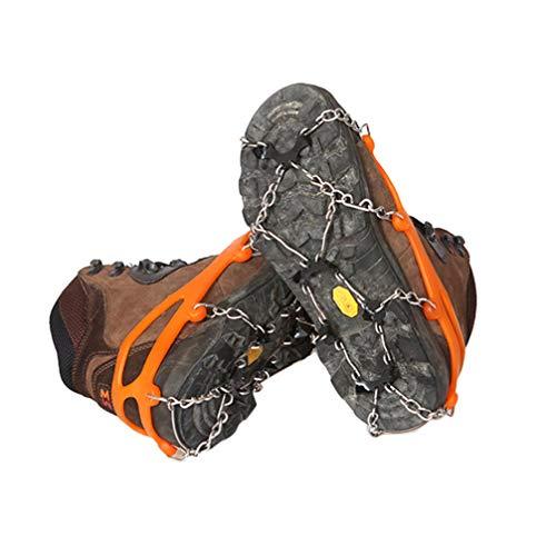 IMIKEYA Crampones Tacos de Hielo Tracción Agarres para Nieve Antideslizante 8 para Zapatos Y Botas para Caminar Senderismo Pesca Y Escalada (Naranja L)