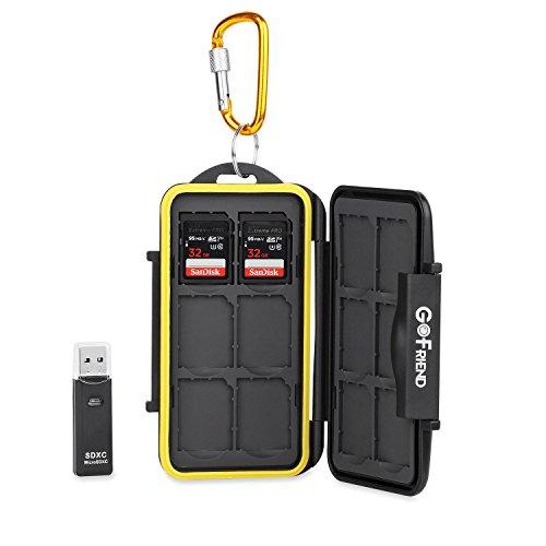 gofriend® Scheda di memoria Custodia Holder Storage Proteggi Compact Flash da viaggio impermeabile professionale, per SD, SDHC, SDXC, con moschettone e lettore di schede