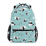 Panda Bear Vector Backpack Bookbag for Boys Girls,Elementary School Backpack,14 inch Computer Laptop Backpack,Durable and Water Resistant Casual Rucksack School Backpack