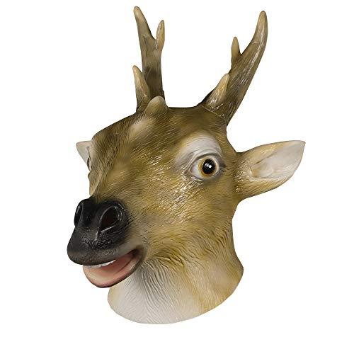 molezu Máscara de Ciervo Máscara de Disfraz de Animal Máscara de Halloween Máscaras de Cabeza de Animal de látex para Adultos Animal (Ciervo Sika)