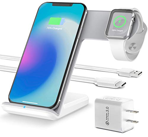OCOMMO Upgraded 2 in 1 Wireless Charger for Apple Watch 5,4,3,2,1, iPhone 11, 11 PRO, 11 MAX PRO, XS MAX, XR, XS, 8Plus, iPhone and Watch Charging Station (QC 3.0 Adapter Included), White