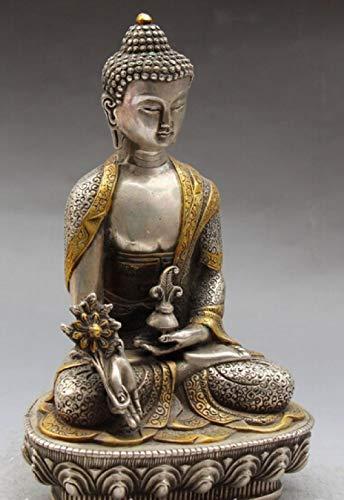 YYMMQQ Kleine Buddha-Statue Chinesischer Buddhismus Silber vergoldeter Schnitzsitz Sakyamuni Medizin Buddha Statue