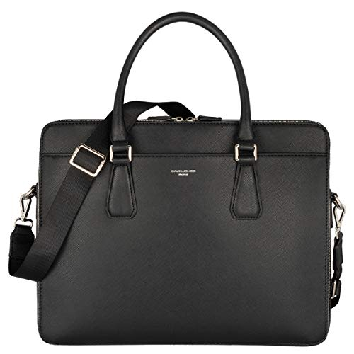 David Jones - Sac à Main Business Porte-Document Cuir PU Rigide Homme - Cartable Travail Sacoche Ordinateur Portable Multi Poche - Mallette Serviette Affaires Professionnel Epaule Bandoulière - Noir