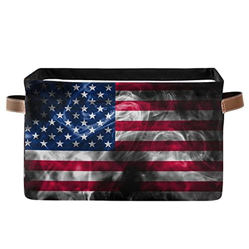 ECHOBU - Papelera de almacenamiento con asa plegable de lona con diseño de bandera de Estados Unidos, organizador para dormitorio, hogar, oficina, armario, ropa, juguetes, 2 unidades