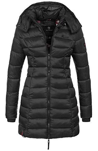 Marikoo Herbst Winter Übergangs Steppmantel Jacke Mantel gesteppt B603 [B603-Schwarz-Gr.L]