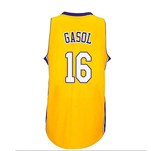Camiseta Baloncesto Jersey NBA Masculino PAU Gasol # 16, Transpirable Resistente Al Desgaste Bordó La Camiseta De La Camiseta + Pantalón Corto, XS-XXL, FHI061IHF (Color : A, Size : L)