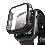PZOZ Hülle Kompatibel mit Apple Watch Series 6/SE/5/4 44mm mit PET Bildschirmschutz, iWatch Sehr stark PC Schutzhülle, All-Aro& Schutz Hülle für Apple Watch Series 6/SE/5/4 44mm(Schwarz)