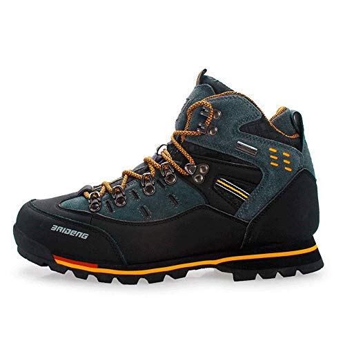 HaoLin Zapatos De Senderismo Impermeables De Gran Tamaño Al Aire Libre para Hombres Zapatillas De Senderismo Transpirables De Cuero De Gamuza Botas De Montaña Zapatillas Antideslizantes,Yellow-40