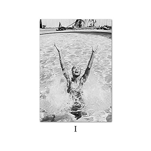 Zwemmen Meisje Mode Poster Nordic Zwart Wit Kwaliteit Canvas Schilderij Foto Home Decor Woonkamer Muur Decor 50X70 Cm…