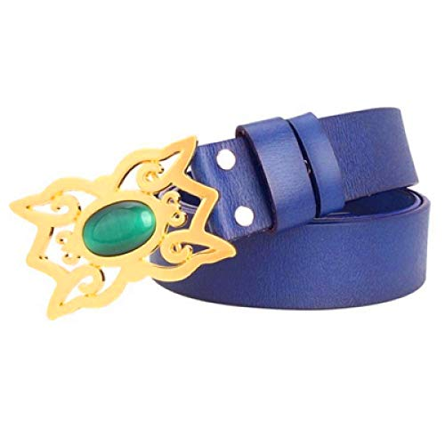WDYDDW Cinturón Hombre Cinturón De Mujer Esmeralda Hebilla Dorada Faja De Mujer Piel Genuina Niña Cinturón De Jeans Cinturón De Hebilla De Cuentas De Gemas para Regalo, como Se Muestra, 105 Cm