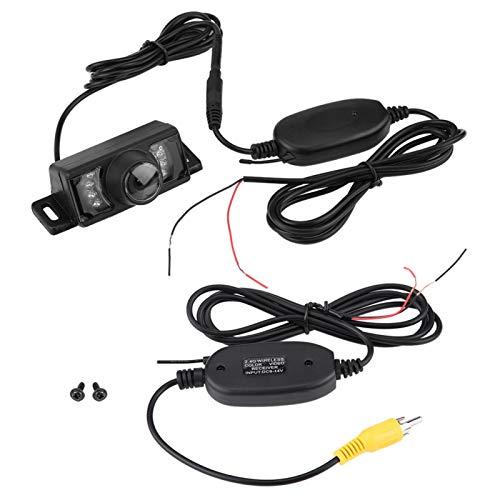 Ladieshow 7pcs IR LED Night Version Car Reverse Backup Camera + Transmisor y Receptor de Video RCA inalámbrico