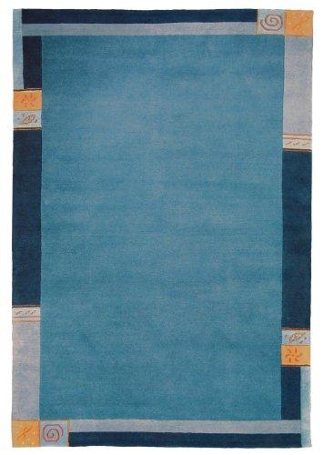 Sona-Lux Nepal Teppich handgeknüpft blau Größe auswählen 250 x 350 cm