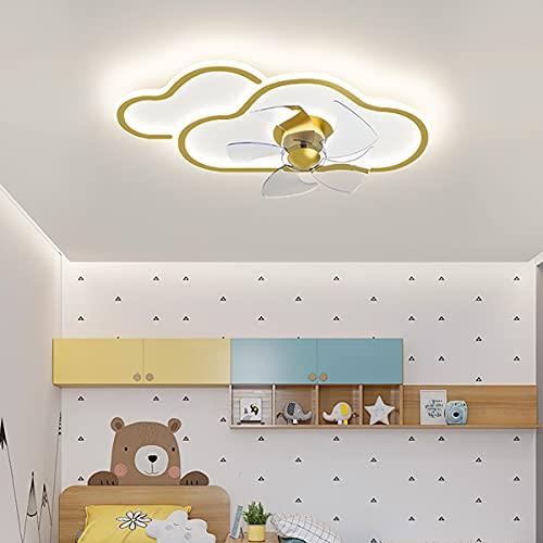 Ventiladores De Techo Con Luz Led Y Mando A Distancia Infantil Control Remoto Para Ventilador De Techo Plafon Ventilador Techo Con Luz Y Mando A Distancia 62CM*32CM*13CM,Amarillo