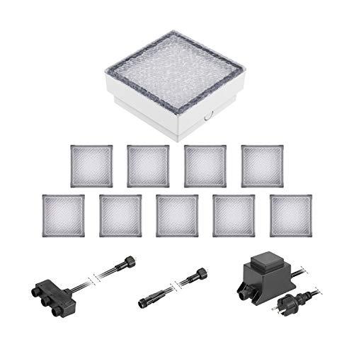 ledscom.de LED Pflaster-Stein Gorgon Boden-Einbauleuchte für außen, 15x15cm, 12V, kalt-weiß 10er Set