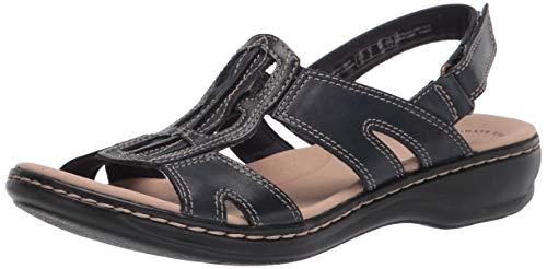 Clarks Women s Leisa Skip Flat Sandal, Navy Leather, 7.5M