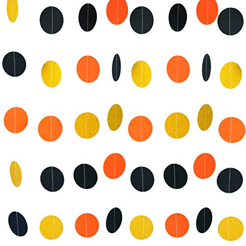 Black Orange Party Hanging Garlands Decorations - Halloween Graduation Construction Zone Birthday Party Baby Shower Party Photo Booth Backdrops Decorations, 26ft