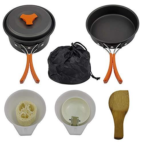 Bling Ustensiles Kit Mess, Cuisine Set Backpacking, Outdoor Gear Camp Accessoires pour la Famille Randonnée Pique-niques légers Batterie de Cuisine,Orange