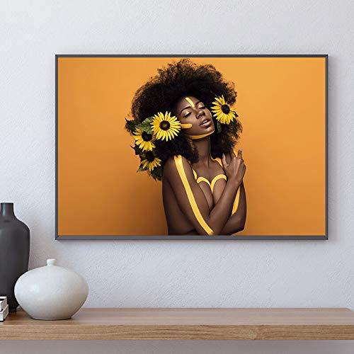 fdgdfgd Carteles e Impresiones de Pintura al óleo de Mujer Africana Negra imágenes de Arte de Pared escandinavo